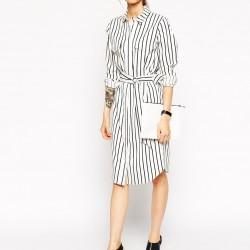 Çizgili Çok Şık Uzun Gömlek Elbise Modelleri