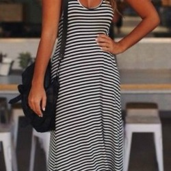 Çizgili Günlük Askılı Elbise Modelleri 2016