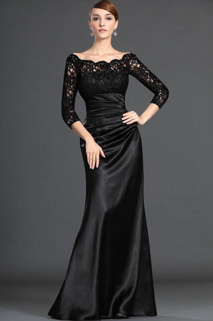 2016 Siyah Renkli Kolları Güpürlü Abiye Modelleri