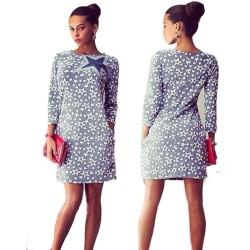 Basklı Desenli Cepli Elbise Modelleri 2016