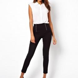 Beyaz Gömlek Siyah Yüksek Bel Kumaş Pantolon Kombini