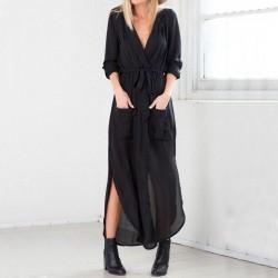 Cep Detaylı Uzun Gömlek Elbise Modelleri