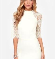 En Şık Kolları Güpürlü Beyaz Renkli Mini Elbise Modelleri 2016