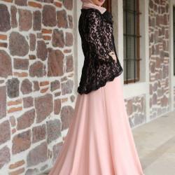 En Şık Pembe Siyah Pembe Tesettür Abiye Modelleri 2016