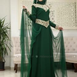 En Güzel Modanisa Zümrüt Yeşili Tesettür Abiye Modelleri 2016