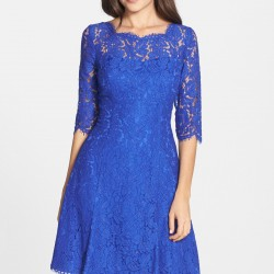 En Güzel Saks Mavisi Dantelli Elbise Modelleri