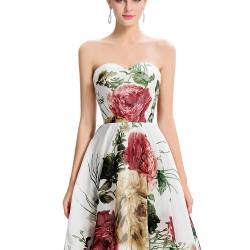 En Zarif Çiçek Desenli Straplez Elbise Modelleri 2016