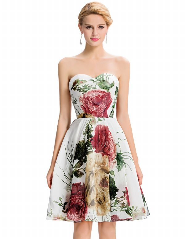 2b0119da2b4a4 En Zarif Çiçek Desenli Straplez Elbise Modelleri 2016 »