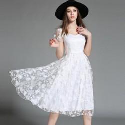 En Zarif Beyaz Renkli İşlemeli Yazlık Midi Elbise Modelleri 2016