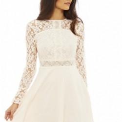 En Zarif Kolları Dantelli Beyaz Elbise Modelleri 2016