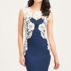 En Zarif Mavi Renkli Beyaz Dantel İşlemeli Elbise Modelleri