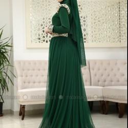 En Zarif Modanisa Zümrüt Yeşili Tesettür Abiye Modelleri 2016