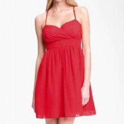 Kırmızı Renkli Askılı Elbise Modelleri 2016