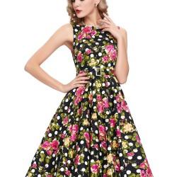 Kemer Detaylı Çok Zarif Çiçek Desenli Vintage Elbise Modelleri