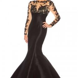 Kolları Güpürlü Balık Etek Siyah Renkli Abiye Modelleri 2016