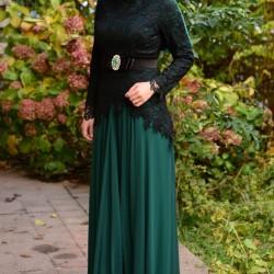 Sefamerve Zümrüt Yeşili Tesettür Abiye Modelleri 2016