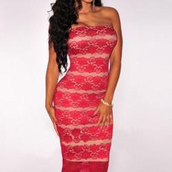 Tül Dantel İşlemeli Straplez Elbise Modelleri 2016