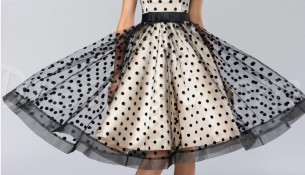Tül Detaylı Puantiyeli Vintage Elbise Modelleri 2016