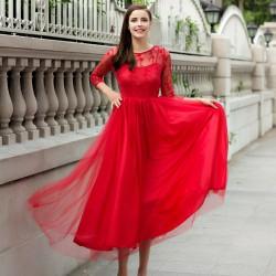 Uçuşan Tül Detaylı Yazlık Kırmızı Elbise Modelleri 2016