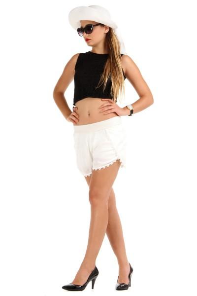 Ucu Dantel İşlemeli Patırtı Bayan Şort Modelleri 2016