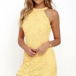 Yazlık Sarı Renkli Dantelli Elbise Modelleri