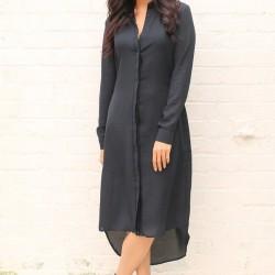 Yeni Sezon Siyah Renkli Uzun Gömlek Elbise Modelleri 2016
