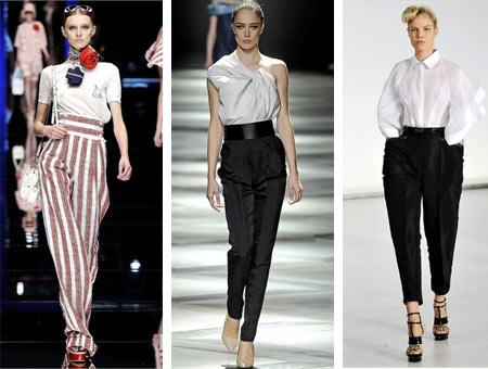 Yeni Sezon Yüksek Bel Kumaş Pantolon Modelleri 2016