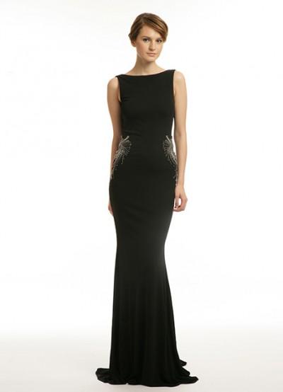 Siyah Çok Şık Sıfır Kol Vakko Elbise Modelleri 2016
