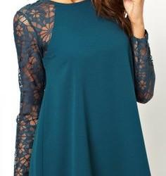 Kolları Güpürlü Elbise Modelleri 2016