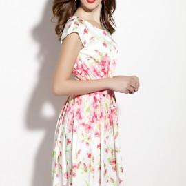 Çiçek Desenli Oldukça Zarif Kısa Kollu Yazlık Elbise Modelleri 2016