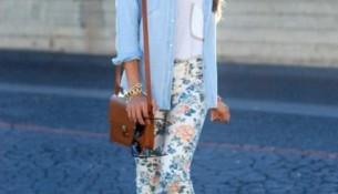 Çiçek Desenli Yazlık Tayt Pantolon Modelleri 2016