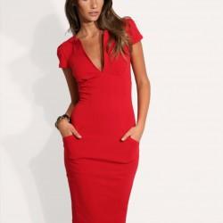 Çok Zarif Cep Detaylı Kalem Elbise Modelleri