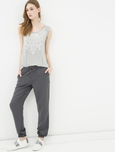 Önden İp Detaylı Antrasit Koton Pantolon Modelleri 2016