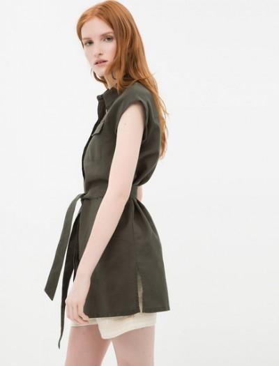 Önden Kuşak Detaylı Haki Koton Elbise Modelleri 2016