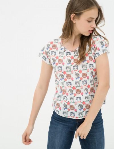 Baskılı Desenli Ekru Koton Tişört Modeli 2016