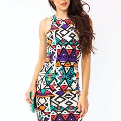 Boyundan Askılı Etnik Desenli Elbise Modelleri
