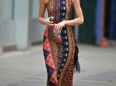 En Güzel Etnik Desenli Elbise Modelleri