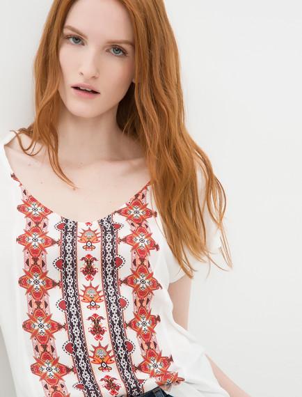 Etnik Desenli Koton Tişört Modeli 2016