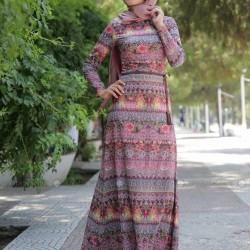 Etnik Desenli Tesettür Elbise Modelleri