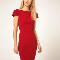 Günlük Kullanıma Uygun Oldukça Hoş Kırmızı Kalem Elbise Modeli