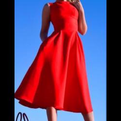 Kırmızı Renkli Midi Kloş Elbise Modelleri 2016