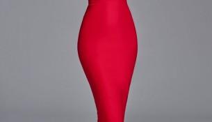 Kırmızı Renkli Midi Boy Çok Zarif Kalem Elbise Modeli
