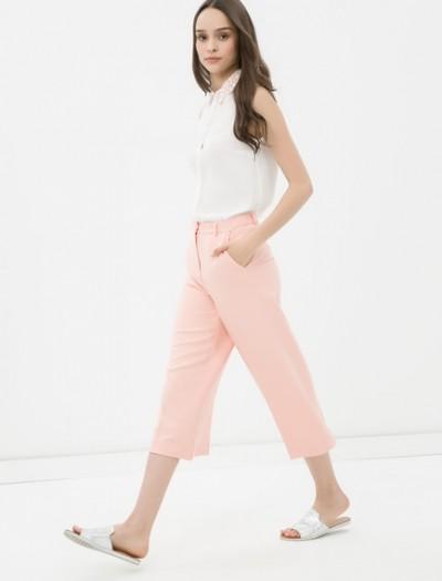 Kısa Paçalı Gül Renginde Çok Zarif Koton Pantolon Modelleri 2016