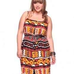 Kilolu Bayanlar İçin Etnik Desenli Elbise Modelleir