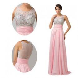 Pembe Uzun Parti Elbise Modelleri