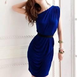 Saks Mavisi Tek Koldan Askılı Genç Elbise Modası 2016