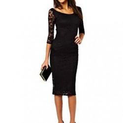 Siyah Renkli Güpürlü 25 Yaş Genç Elbise Modelleri
