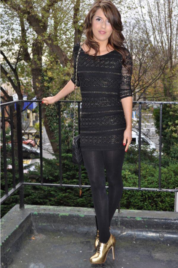 Siyah Tayt Mini Elbise Kombinleri 2016