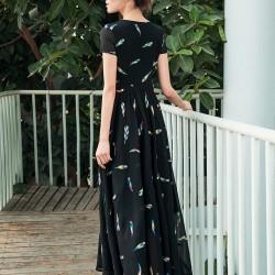 Tül Detaylı Kısa Kollu Yazlık Elbise Modelleri 2016