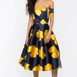 Yazlık Çiçek Desenli Midi Boy Kloş Elbise Modelleri